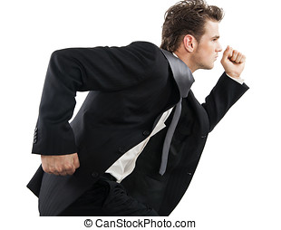 Running Businessman - Young corporate businessman in suit...