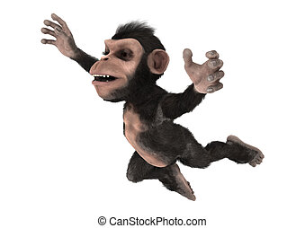 Little Chimp - 3D digital render of a jumping little...