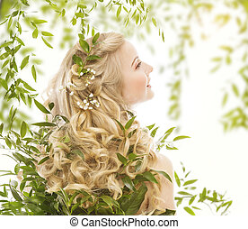 Hair in Green Leaves, Natural Treatment Care Woman - Hair in...