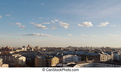 View of Moscow from the roof in the center of time-lapse