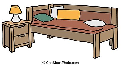 Bed with bedside table - Hand drawing of a bed with bedside...