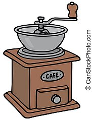 Coffee grinder - Hand drawing of a vintage coffee grinder