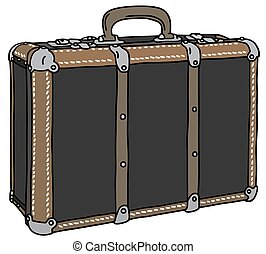 Classic suitcase - Hand drawing of a vintage big suitcase