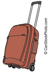 Big red baggage - Hand drawing of a red baggage on wheels