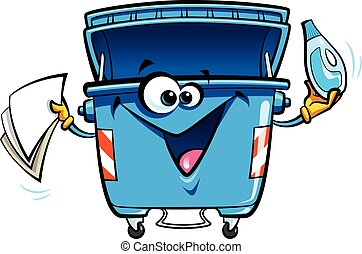 Cartoon recycling trash bin - Happy cartoon smiling recycle...