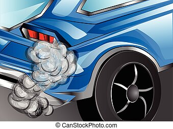 smoking exhaust blue car with smoking exhaust pipe