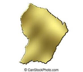 French Guiana 3d Golden Map - French Guiana 3d golden map...