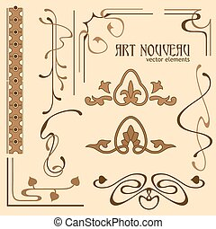 Set of art nouveau elements