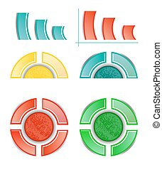 Set, collection of six isolated, modern, colorful - blue, yellow, red, green - pie charts, diagrams, use for infographic, presentation, reports, documents, white background