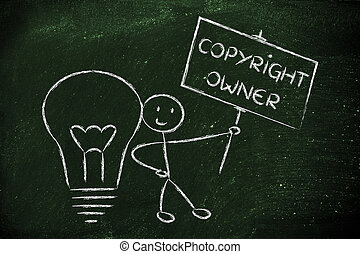funny copyright owner man with his idea, concept of...