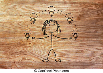 funny girl juggling ideas, concept of intellectual property...