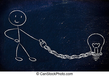funny copyright owner man with his idea on a chained leash:...