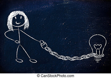 funny copyright owner girl with his idea on a chained leash: pro