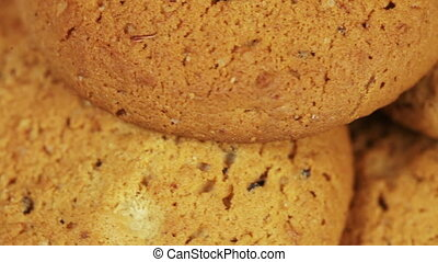 Oatmeal cookies - On white plate rotates Oatmeal cookies