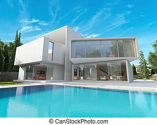 Cubic mansion - External view of a contemporary house with...