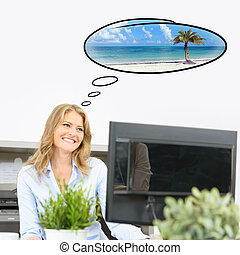 Holiday dreaming - Woman dreaming of her vacation trip at...