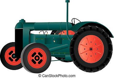 Vintage Farm Tractor - A Green and Red Vintage Farm Tractor...