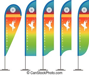 beach flag - Illustration set of beach flags. Vector.