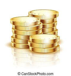 gold coins on a white