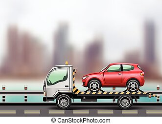 tow truck loaded up the car - Tow truck loaded up the car...