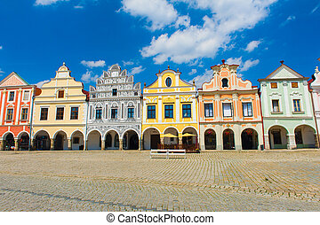 Telc - Vivid Renaissance houses in Telc, Czech Republic -...