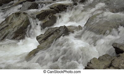 River gorge Sine wiry, Bieszczady. - Small waterfall, river...