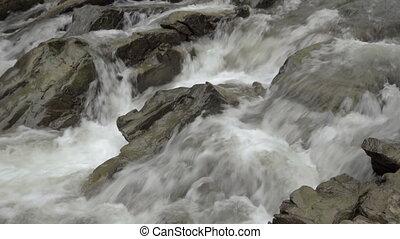 River gorge Sine wiry, Bieszczady. - Small waterfall, river...
