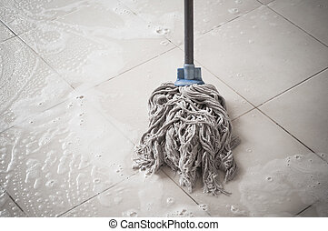 Floor cleaning with mob and cleanser foam
