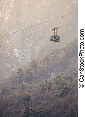 Cable car on high mountain background