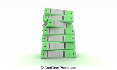Pile of binders green - 3D animation of a pile of green ring...