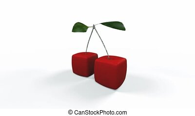 Cubic cherries - 3D rendering of a pair of cubic cherries...