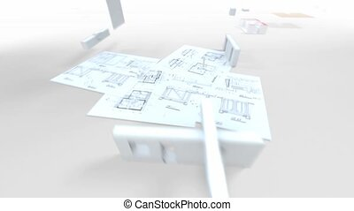 House architecture and construction - 3D animation showing a...
