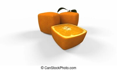 Cubic orange group - 3D video of a cubic orange and a half...