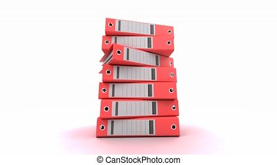 Pile of binders red - 3D animation of a pile of red ring...
