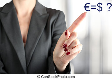 Businesswoman Touching euro and usd on a virtual graph by...