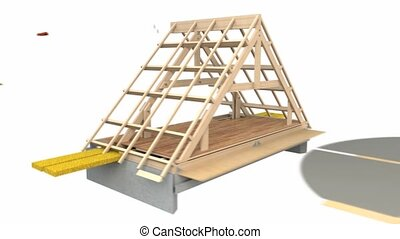 Roof construction - Footage showing stages and materials in...