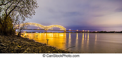 Hernando de Soto Bridge - Memphis Tennessee at night