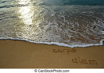Sand writing carpe diem - The phrase carpe diem written in...