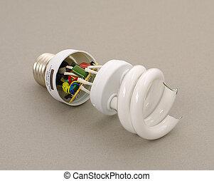 broken energy-efficient lamp - beaten energy-efficient...