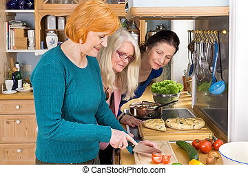 Moms Looking at their Friend Slicing Ingredients - Curious...