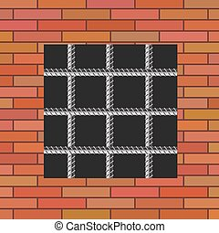 Prison Wall - Prison Window 0n Red Brick Wall Jail Wall with...