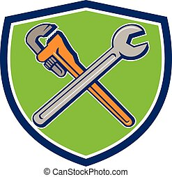 Spanner Monkey Wrench Crossed Crest Cartoon - Illustration...