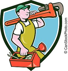 Plumber Carrying Monkey Wrench Toolbox Crest - Illustration...