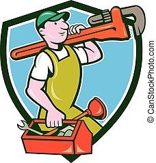 plomero, mono, proceso de llevar, llave inglesa, caja de herramientas, cresta
