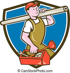 Plumber Carrying Pipe Toolbox Crest Cartoon - Illustration...