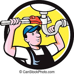 Plumber Repair Sink Pipe Wrench Circle Cartoon -...