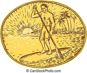 Stand Up Paddle Boarding Surfing Etching - Etching engraving...