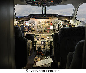 cockpit - pilot cockpit in an passenger commercial airplane