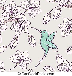 Hand drwn seamless psttern with colibri bird and flowers in...