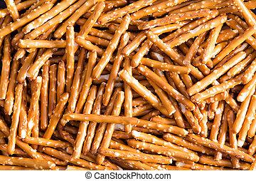 Plenty Salted Baked Pretzel Sticks for Backgrounds - Close...